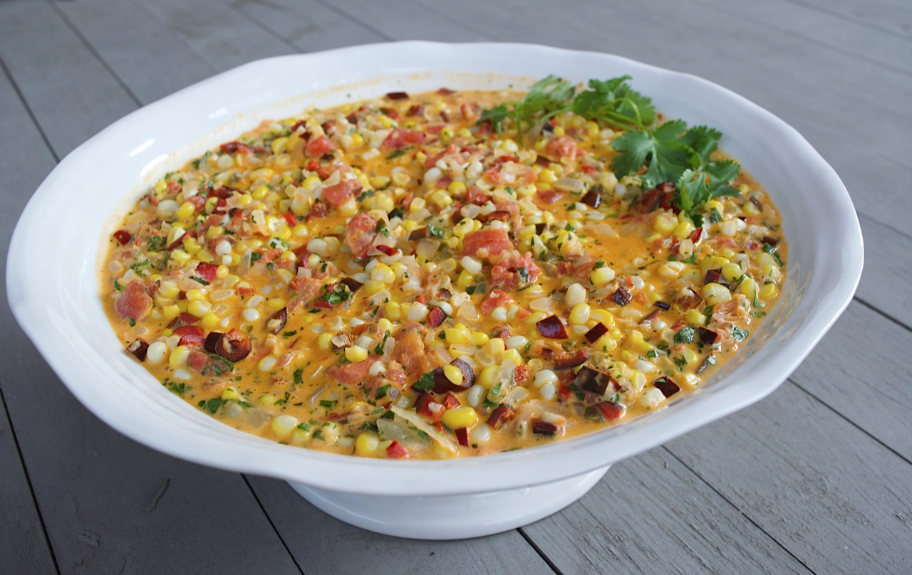 Mexican-style-Creamed-Corn-with-Chiles-Tomatoes-and-Cilantro